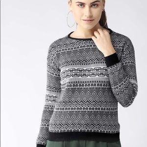 Black and White MADAME boho print sweater